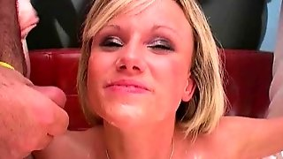Uk Blonde Barbie Gets Bukkake Facial Cumshots