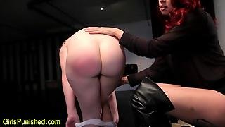 Spanked Lesbo Immobilized And Fingered
