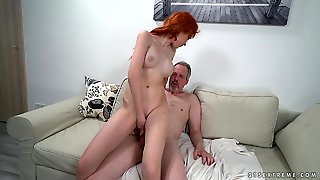 Old Man Fucks A Leggy Teenage Redhead