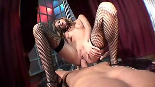 Slut In Fishnet Plays With Pov Dick