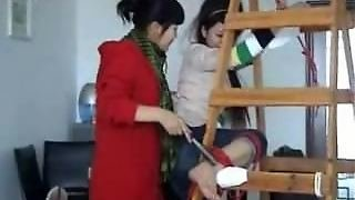 Two Chinese Girls Tickled And Tied
