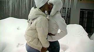 Sexy Bitches Play With Snow Before Having Lesbian Sex Outdoor
