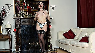 Flat Chested Mature Woman In Lingerie Masturbates Solo