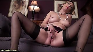 Elegant Mature Girl In Pearls Plays With Her Pussy