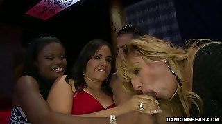 Insatiable Milfs Suck On Stripper's Dick In A Club In Reality Video