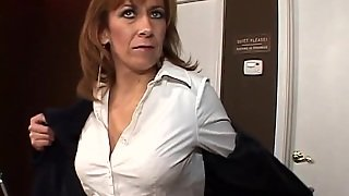 Hot Cougar With Long Red Hair Playing With Her Hairy Pussy