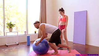Teen Fucked On The Gym Ball By Her Step Bro