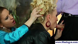 Cocksucking Piss Lover Doggystyled In Trio