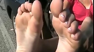 Ff24 Candid Feet In A Parking Lot