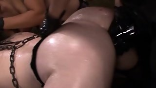 Sub Fingered By Strapon Wielding Femdoms In Trio