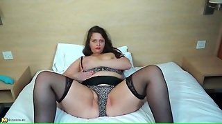 Chubby Milf In A Sexy Lingerie Set Masturbates