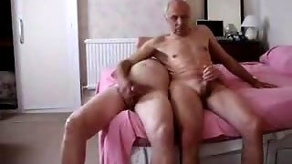 Two Old Men Playing With Each Other's Dick