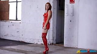 Shiny Red Latex On A Smoking Hot Redheaded Girl