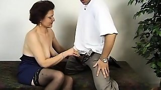 Impressive White Babe In Stockings Gets Hairy Coochie Frigged In Office Room