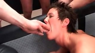 Milf Gets Assfucked In Hard Orgy