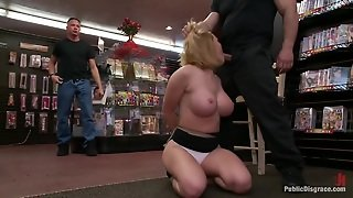 Submission, White, Public, Humiliation, Bdsm, Group, Domination, Deep Throat, Blowjob, Tied, Blonde