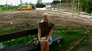 Pov Drills A Blonde In A Public Place