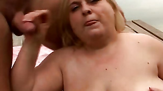 Fat Woman Licking Cum From His Cock