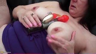 Spinning Dildo Pleasures Her Pierced Mature Cunt