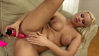 Young Teen Blonde With Big Tits In Heels Strips An