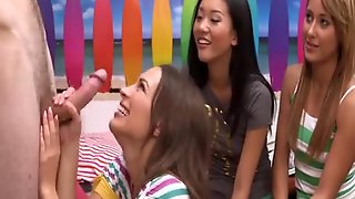 Three Clothed Females Blow Naked Male