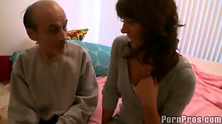 A Big Cock From An Old Man For Mila's Tight Teen Pussy