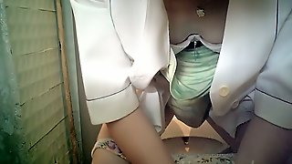 White Pale Skin Chick In The Toilet Room Filmed From Front Side