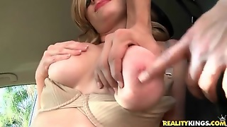 Big Tits Fondled In The Car