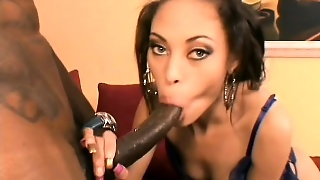 Delightful Caramel Girl Welcomes A Huge Black Rod In Her Hairy Peach