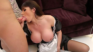 Super Juggy Maid Polishes Hard Pole And Licks Balls Standing Obediently On Her Knees