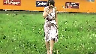 Gal In Glasses Doing A Pee-Pee Outdoors