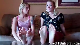 Lesbian Foot Worshiping Sneak Attack
