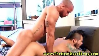 Powerful Black Stud Giving Rimjob To White