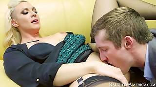 Randy And Pretty Arousing Blonde Honey In Sexy Black Dress
