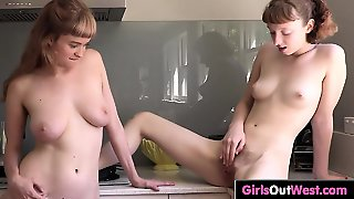 Cute Hairy Lesbians Fuck In The Kitchen