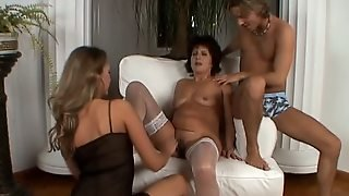 Threesome, Mature, Stockings, Fisting, Pussy, Toys, Masturbate, Mom