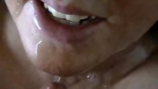 Big Facial For Blindfolded Wife