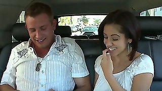 Very Beautiful Asian Girl Having Fun With Her Good Friend. They Ride On The Motorbike Adn After That Ride On The Car. They Are Lissing And After That She Makes Him Blowjob.