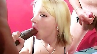 British Blonde In Fishnets Debut Bukkake Party
