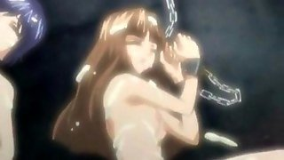 Anime Teen Lesbians In Dungeon Suck Big Tits