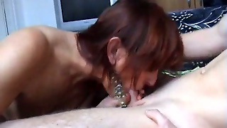 Pierced Mom Toys Her Bumhole And Gives A Stunning Blowjob