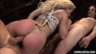 Rope Bondage With A Group Sex