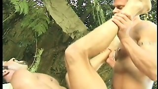 Muscled Men Bringing Their Gay Fantasies To Fruition In The Forest