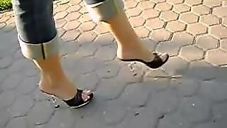 Walking In High Heel Mules