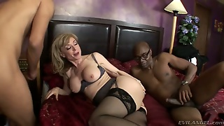 Huge Breasted Blonde In Stockings Is Fucked Mish By Black Dude (Mmf)