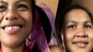 Two Amateur Filipina Girls Licking Together A Dick