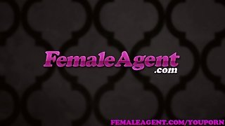 Femaleagent Busty Blonde Agent Gets Her First Stud On The Couch