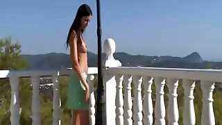 Extremely Horny Babe Peeing On A Terrace