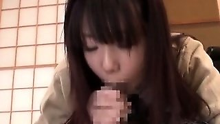 Teen Jap Chick Eating Huge Dick And Taking It In Her Shaved Twat