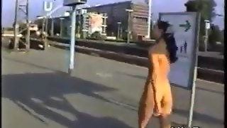 Exhibitionist In Public At A Train Station